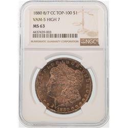 1880-CC 8/7 $1 Morgan Silver Dollar Coin NGC MS63 VAM-5 HIGH 7 TOP-100 AMAZING T