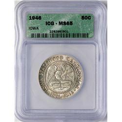 1946 Iowa Centennial Commemorative Half Dollar Coin ICG MS65