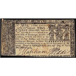 April 10, 1774 $4 Maryland Colonial Currency Note
