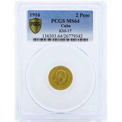 1916 Cuba Dos Pesos Gold Coin PCGS MS64