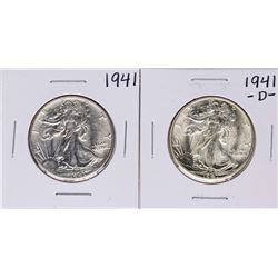 Lot of 1941 & 1941-D Walking Liberty Half Dollar Coins
