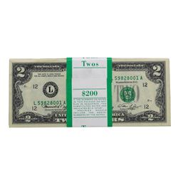 Pack of (100) Consecutive 1976 $2 Federal Reserve Notes San Francisco