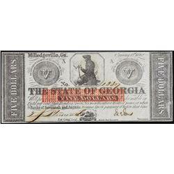 1862 $5 The State of Georgia Obsolete Note Civil War Era