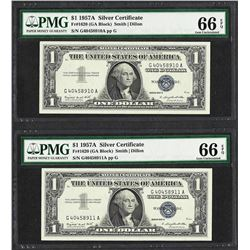 Lot of (2) Consecutive 1957A $1 Silver Certificate Notes PMG Gem Uncirculated 66