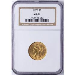 1899 $5 Liberty Head Half Eagle Gold Coin NGC MS61