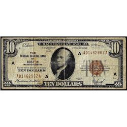 1929 $10 Federal Reserve Note Boston