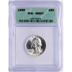 1958 Washington Quarter Coin ICG MS67