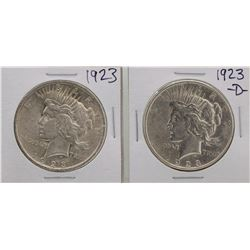 Lot of 1923 & 1923-D $1 Peace Silver Dollar Coins