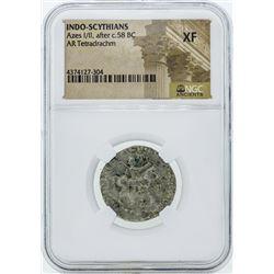 58 BC Indo Scythians Azes I/II AR Tetradrachm Coin NGC XF