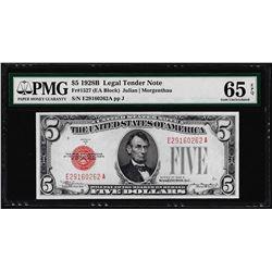 1928B $5 Legal Tender Note Fr.1527 PMG Gem Uncirculated 65EPQ
