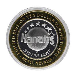 .999 Silver Harrahs Casino Reno Nevada $10 Casino Limited Edition Gaming Token