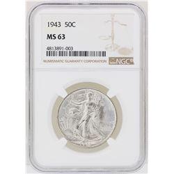 1943 Walking Liberty Half Dollar Coin NGC MS63