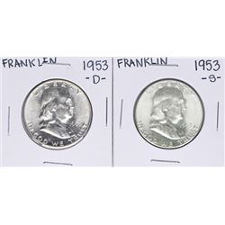 Lot of 1953-S & 1953-D Franklin Half Dollar Coins
