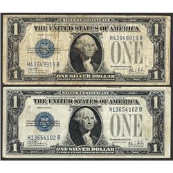 Lot of (2) 1928B $1 Funnyback Silver Certificate Notes