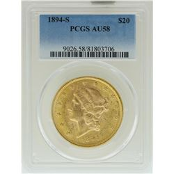 1894-S $20 Liberty Head Double Eagle Gold Coin PCGS AU58