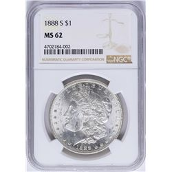 1888-S $1 Morgan Silver Dollar Coin NGC MS62