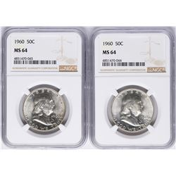 Lot of (2) 1960 Franklin Half Dollar Coins NGC MS64