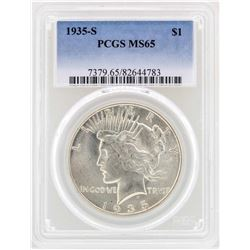 1935-S $1 Peace Silver Dollar Coin PCGS MS65
