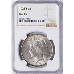 1923-S $1 Peace Silver Dollar Coin NGC MS60