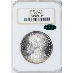 1881-S $1 Morgan Silver Dollar Coin NGC MS65 CAC AMAZING COLOR
