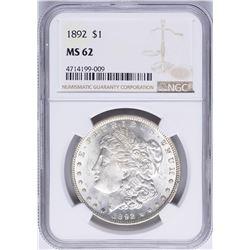 1892 $1 Morgan Silver Dollar Coin NGC MS62