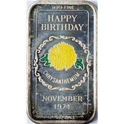 November 1974 Happy Birthday Enamel Silver Art Bar