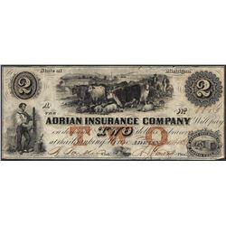 1836 $2 Adrian Insurance Company Michigan Obsolete Note