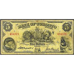 1937 $5 Bank of Toronto Canada Note