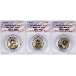 Lot of (3) 2008 Presidential Oath Dollar Coins ANACS MS65