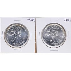 Lot of (2) 1989 $1 American Silver Eagle Coins