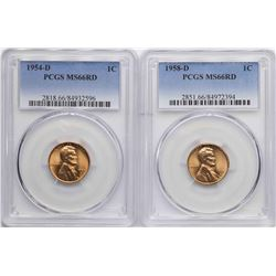 Lot of 1954-D & 1958-D Lincoln Wheat Cent Coins PCGS MS66RD