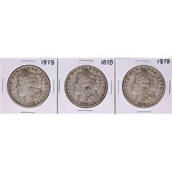 Lot of (3) 1878 $1 Morgan Silver Dollar Coins
