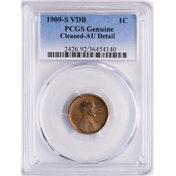 1909-S VDB Lincoln Wheat Cent Coin PCGS AU Detail