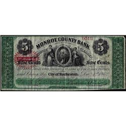 1862 $1 Monroe County Bank Rochester, NY Obsolete Note