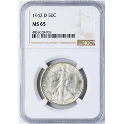 1942-D Walking Liberty Half Dollar Coin NGC MS65
