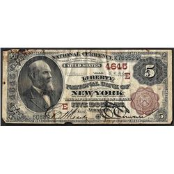 1882 $5 Brown Back New York, New York National Currency Note CH# 4645