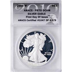 2010-W $1 Proof American Silver Eagle Coin ANACS PR70 DCAM