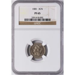1881 Proof Three Cent Nickel Coin NGC PF65