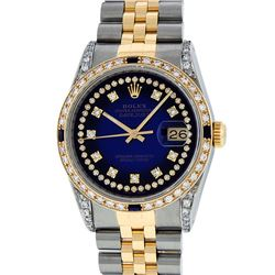 Rolex Mens Two Tone 14K Blue Vignette Diamond & Sapphire Datejust Wristwatch