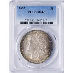 1892 $1 Morgan Silver Dollar Coin PCGS MS65