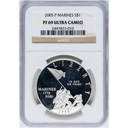 2005-P $1 Marines Silver Commemorative Coin NGC PF69 Ultra Cameo