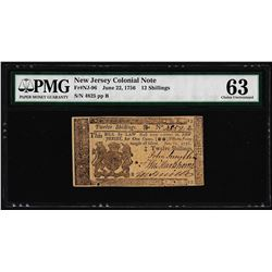 June 22, 1756 New Jersey 12 Shillings Colonial Currency Note PMG Choice Unc. 63