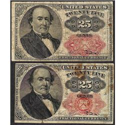 Lot of (2) 1874 Fifth Issue 25 Cent Fractional Currency Notes
