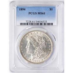 1894 $1 Morgan Silver Dollar Coin PCGS MS61