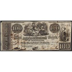 1840 $100 Agricultural Bank of Mississippi Natchez Obsolete Note