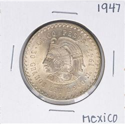 1947 Mexico Cinco Pesos Silver Coin