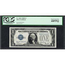 1928B $1 Funnyback Silver Certificate Note Fr.1602 PCGS Superb Gem New 68PPQ