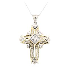 14KT White and Yellow Gold 1.50 ctw Diamond Pendant & Chain