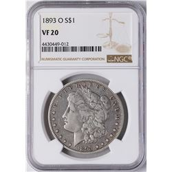 1893-O $1 Morgan Silver Dollar Coin NGC VF20