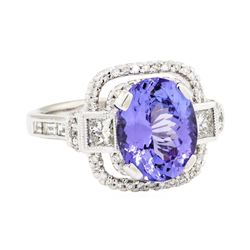 14KT White Gold 3.33 ctw Tanzanite and Diamond Ring